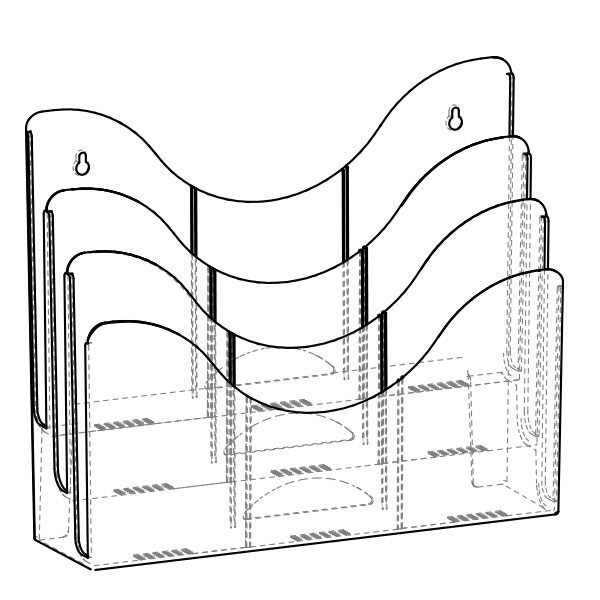 satin finish multi-pocket brochure holder